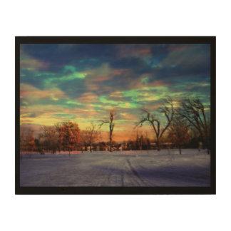Winter sunset. Minneapolis, Minnesota Wood Prints