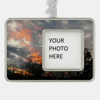 Winter Sunset Nature Landscape Photography Silver Plated Framed Ornament