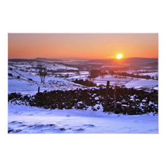 Winter sunset on The Helm, Kendal, Cumbria Photo Print