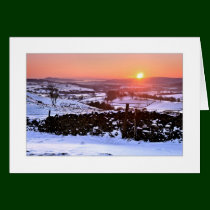 Winter sunset on The Helm, Kendal Greeting Card