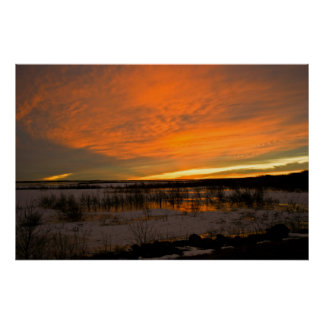 Winter Sunset Over Harlan Lake Poster