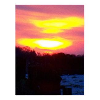 Winter sunset postcard
