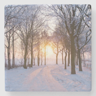 Winter Sunset Stone Coaster