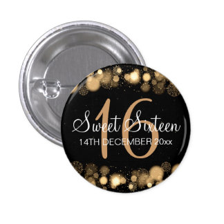 Winter Sweet 16 Birthday Party Gold Bokeh Lights 3 Cm Round Badge
