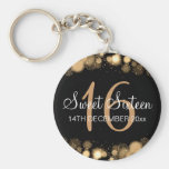 Winter Sweet 16 Birthday Party Gold Bokeh Lights Basic Round Button Key Ring