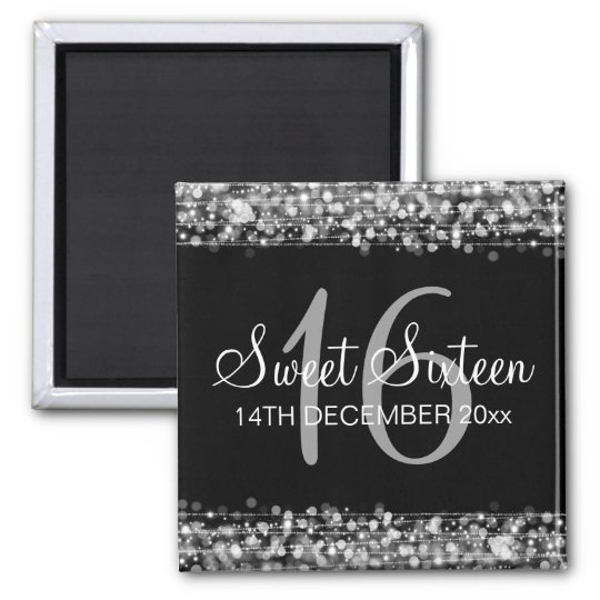 Winter Sweet 16 Birthday Party Sparkles Silver Square Magnet