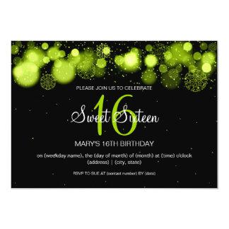 Winter Sweet Sixteen Birthday Party Lime 13 Cm X 18 Cm Invitation Card