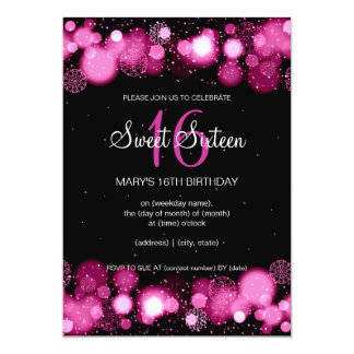 Winter Sweet Sixteen Birthday Party Pink 13 Cm X 18 Cm Invitation Card