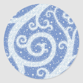 Winter Swirl Pattern Round Sticker