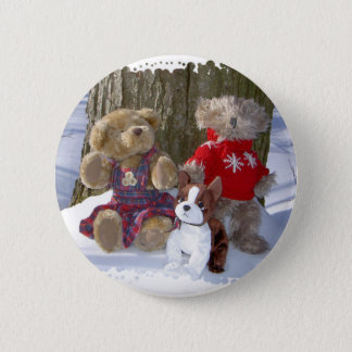 Winter teddies with pup 6 cm round badge
