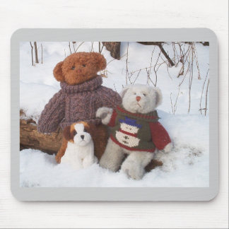 Winter Teddy Brothers with pup Mouse Mat