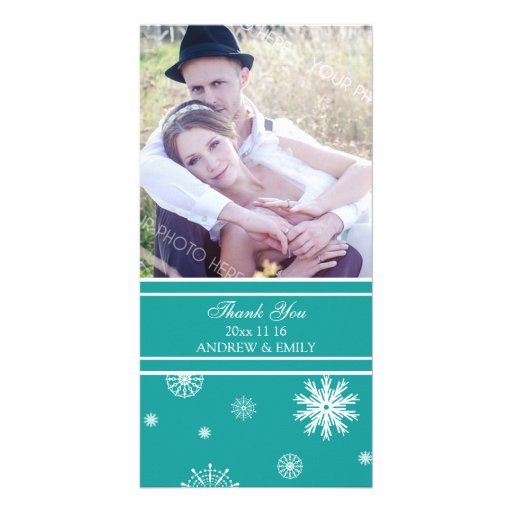 Winter Thank You Wedding Photo Card Teal White