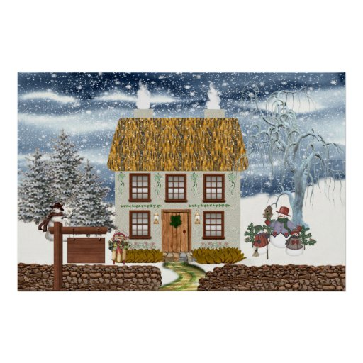 Winter Thatched Cottage Poster