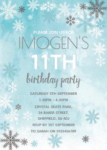 winter themed birthday invitations zazzle uk