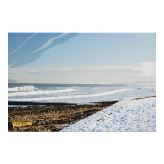 Winter Tide, Scene With Snow On The Beach Poster