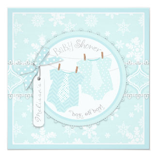 Winter Ties & Snowflakes Twin Boys Baby Shower 13 Cm X 13 Cm Square Invitation Card