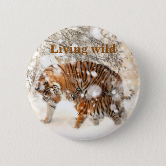 Winter tigers 6 cm round badge