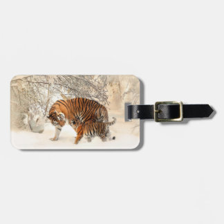 Winter Tigers custom luggage tag