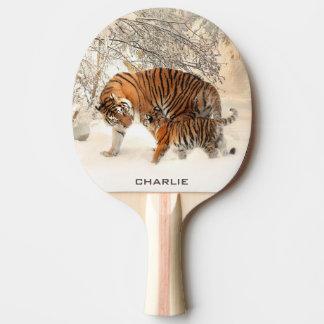 Winter Tigers custom monogram ping pong paddle