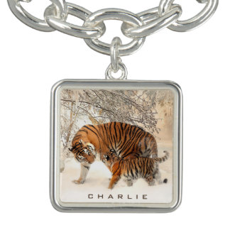 Winter Tigers custom name charm / bracelet