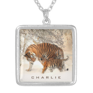 Winter Tigers custom name neclace Silver Plated Necklace