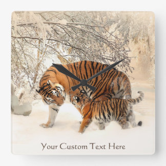 Winter Tigers custom wall clock