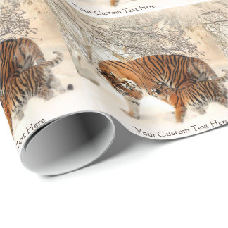 Winter Tigers custom wrapping paper