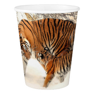 Winter Tigers paper cups