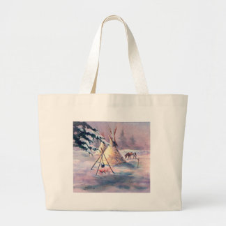 WINTER TIPI FIRE & APPALOOSA by SHARON SHARPE Large Tote Bag