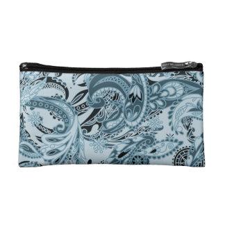 Winter traditional paisley floral blue pattern DIY Makeup Bag