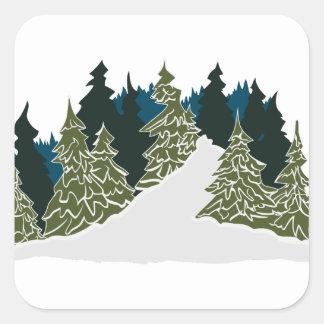 Winter Trail Scene Square Sticker