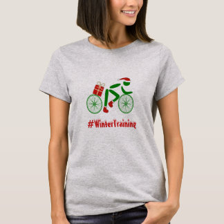 Winter training custom text xmas cyclist T-Shirt