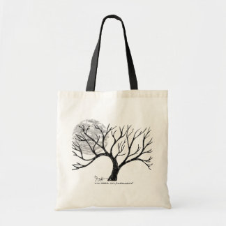 Winter Tree and Moon Black and White Bag