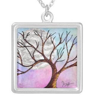 Winter Tree and Moon Colorful Necklace