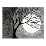 Winter Tree and Moon in Black and White Post Card