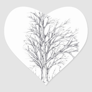 Winter Tree Black Ink Drawing Art Sketch Stickers