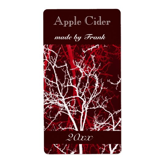 winter tree branches apple cider label
