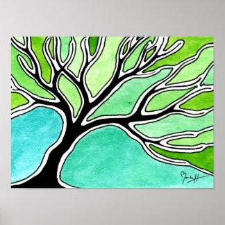 Winter Tree in Green Tones Poster