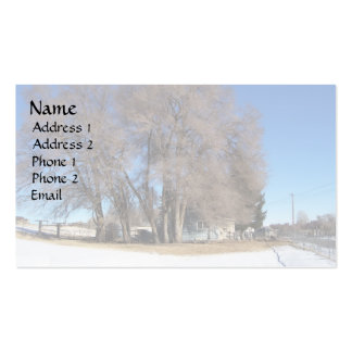 Winter Tree Over Ranch House Double-Sided Standard Business Cards (Pack Of 100)