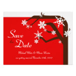 Winter Tree Red Snowflake Save the Date Personalized Announcement