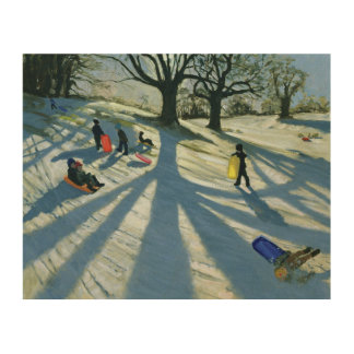 Winter Tree Snow Sledgers Calke Abbey Derby Wood Print