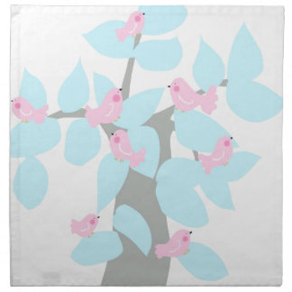 Winter tree with pink birds printed napkin