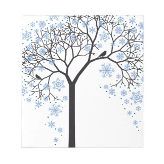 Winter tree with snowflakes and birds notepad