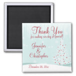 Winter Trees and Snowflakes Wedding Thank You Square Magnet
