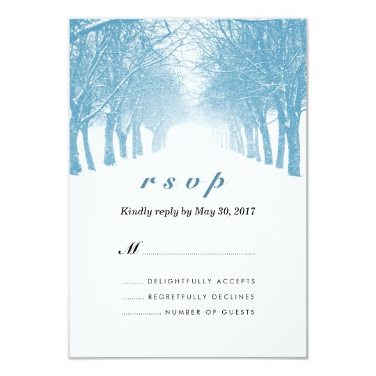 Winter Trees Avenue Wedding RSVP Card