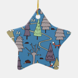 winter trees ceramic star decoration