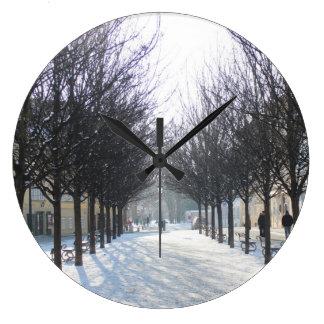 Winter Tree's in Prague (czech republic) Large Clock