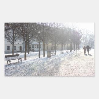 Winter Tree's in Prague (czech republic) Rectangular Sticker