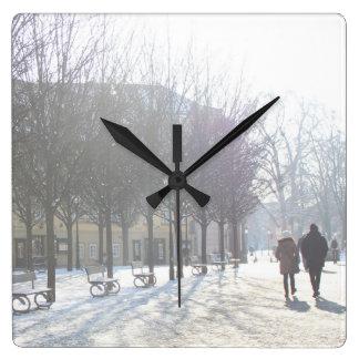 Winter Tree's in Prague (czech republic) Square Wall Clock