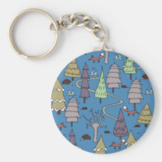 winter trees key ring